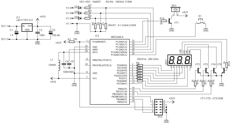 Вольтметр переменного тока(трехфазный) на Atmega48