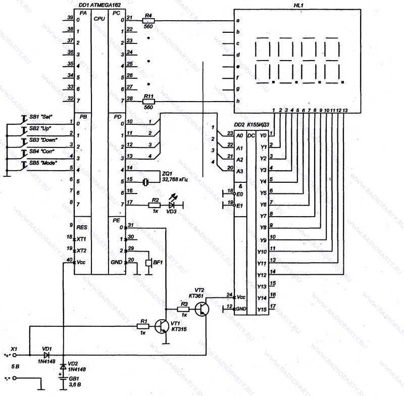 Как собрать простейшие электронные часы схемы