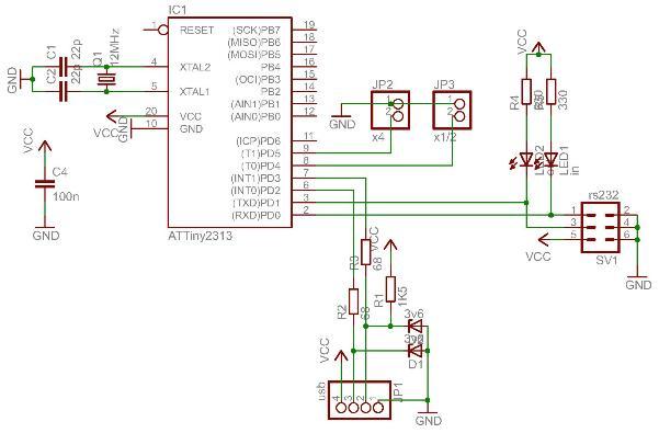 Управляет устройством микроконтроллер Attiny2313 фирмы Atmel.