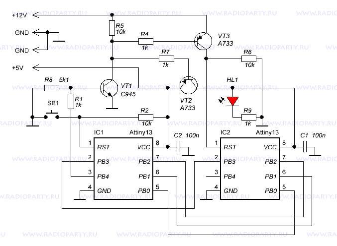Микроконтроллер IC1 берёт на