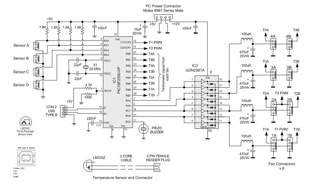 Принципиальная схема контроллера вентиляторов охлаждения ПК.