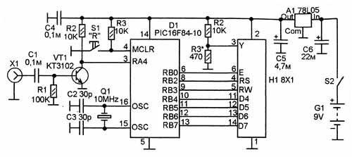 Частотомер измеряет частоту от 1 до 50000000 Гц с восьмиразрядной индикацией на однострочном