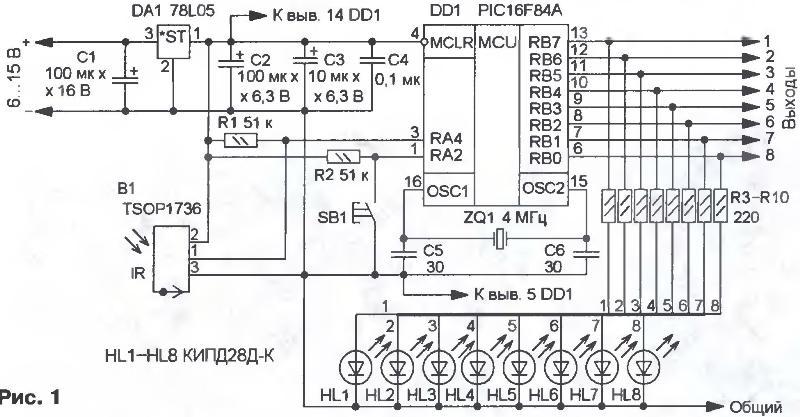 ИК модуль В1 принимает сигналы