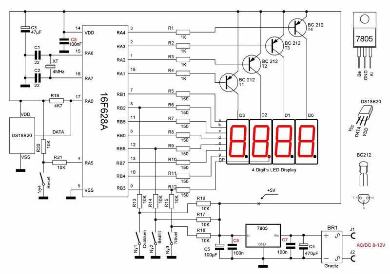 термометром на PIC16F628A